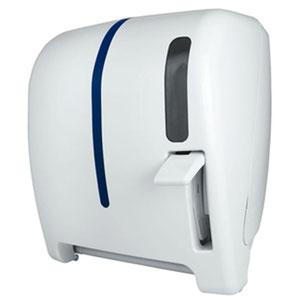 """Despachador / dispensador de toalla en rollo palanca AG28000 Color: Blanco con aplique en azul Dimensiones en milímetros: Alto: 366 Largo: 307 Ancho: 265 Capacidad: 1 rollo de 8"""" / 20.3 cm Contenido por caja: 1 pieza"""