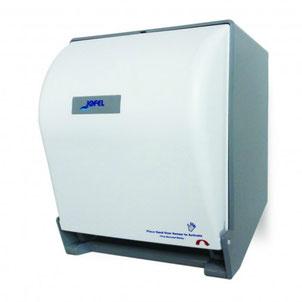 Despachador / Dispensador de toalla en rollo automático PT71000 Color: Blanco con base gris Dimensiones en milímetros: Alto: 365 Largo: 285 Ancho: 245 Capacidad: 1 rollo de 8'' / 20.3 cm Contenido por caja: 1 pieza