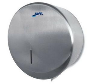 Despachador / Dispensador de papel higiénico mini AE25000 Color: Inoxidable satinado con base de plástico gris Dimensiones en milímetros: Alto: 270 Largo: 270 Ancho: 130 Capacidad: 1 rollo máximo de 300 m de papel Contenido por caja: 1 pieza
