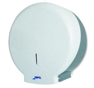 Despachador / Dispensador de papel higiénico maxi PH52001 Color: Blanco con base gris Dimensiones en milímetros: Alto: 360 Largo: 350 Ancho: 130 Capacidad: 1 rollo máximo de 500 m de papel Contenido por caja: 2 piezas