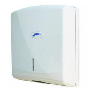 Despachador / Dispensador de toalla interdoblada Z AH35000 Color: Blanco con base blanca Dimensiones en milímetros: Alto: 350 Largo: 270 Ancho: 135 Capacidad: 600 toallas Contenido por caja: 1 pieza