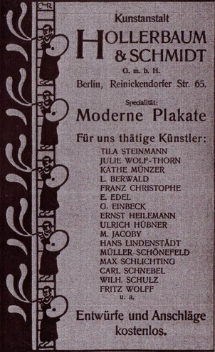 Werbung: Moderne Plakate. Hollerbaum & Schmidt- für uns thätige Künstler 1900 Inserat.