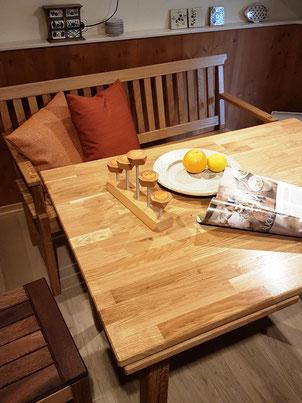 Bank- und Tisch-Kombination aus Eiche