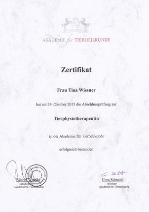 zertifizierte Tierphysiotherapeutin