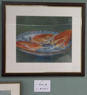 絵皿と蟹 パステル8号