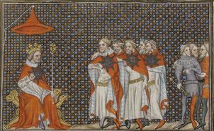 Jean le Bon arbitrant la dispute entre le duc de Lancastre et le duc de Brunswick.