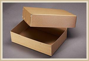 Archiv Karton mit Flachheftung, aus Natron beschichteter Pappe.