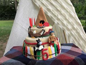Günstige Geburtstagstorte für Kinder - Indianer