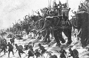 Alexandre le grand remporte la bataille de l'Hydaspe (Pakistan). L'armée macédonienne est confrontée pour la première fois à un nombre important d'éléphants de guerre (environ 200).