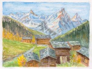 Nr.2115  Alphütten mit Obergabelhorn und Zinalrothorn,VS