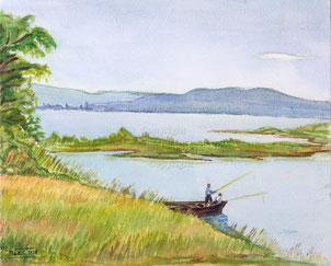 Nr. 2122  Fischer bei Lachen am Zürisee. Blick auf Hurden.