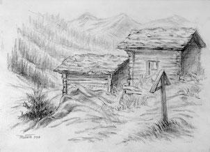 Nr.2125  Alphütten Kühmatt Lötschental