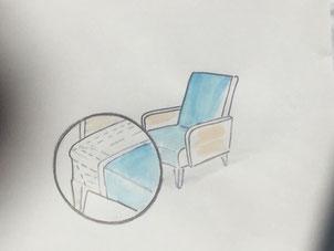 croquis d'un fauteuil en vue d'une création avec gros plan du savoir faire de garnissage crédit photo ecoute bergere