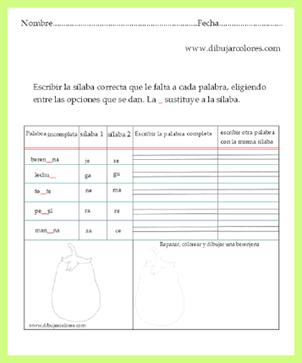 completar palabras con sílabas