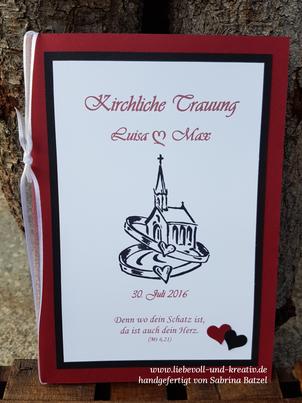 Hochzeit, Hochzeitspapeterie, Kirchenheft, Kirchliche Trauung, Rot, Schwarz, Weiß