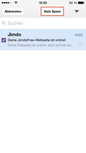 Bild. GMail mobil kein Spam markieren