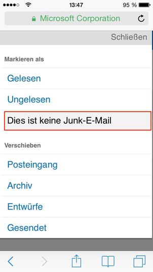 Bild: mobil E-Mail als kein Junk markieren
