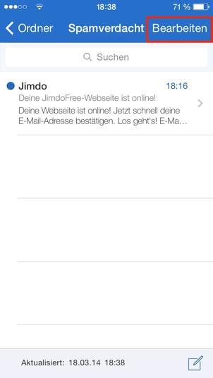 Bild: Mobile Ansicht Spamordner GMX Postfach Jimdo Mail