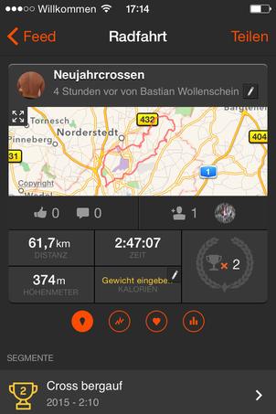Die Neujahrsausfahrt auf Strava: www.sportspunk.de