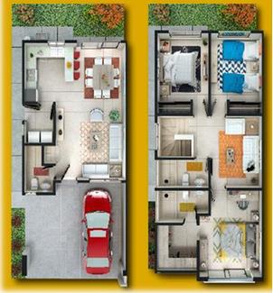 Distribucion casa modelo Catania Katavia Residencial