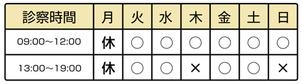 鍼灸院鶴札幌の受付時間表