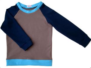 faire Kindermode, Berlin, sweatshirt blau/beige