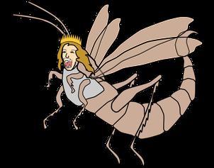 L'ange qui descend du ciel avec la clé de l'abîme correspond à l'ange de l'abîme, le roi des sauterelles qui doivent tourmenter ceux qui n'ont pas l'empreinte de Dieu. Le tourment qu'elles causaient était comme celui causé par le scorpion quand il pique.