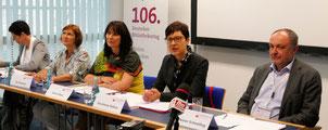 Pressekonferenz am 30. Mai 2017 Podiumsteilnehmer 106. Bibliothekartag 2017 in Frankfurt © Tag der Deutschen Einheit 2017 in Mainz © FMF.digital/Klaus Leitzbach