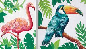 子供部屋オーダーメイド絵画 南国鳥 フラミンゴ オニオオハシ