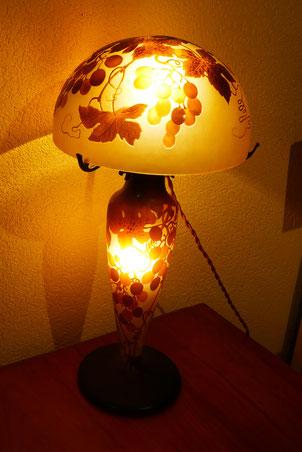 lampe D'Argental, décor de vigne vierge, lampe Gallé, pâte de verre, Daum, Daum frères, exposition de Noël, école de Nancy, art Nouveau Jugenstyl