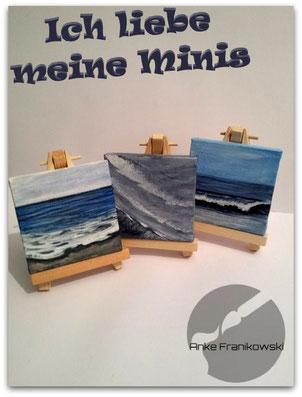 3 kleine Minigemälde mit Meereslandschaften