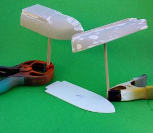 Die einzelnen Teile für den Rumpf des Freifallbootes