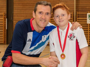 U13 winner Max Hoegenauer (l) and coach Pete Veal (r)