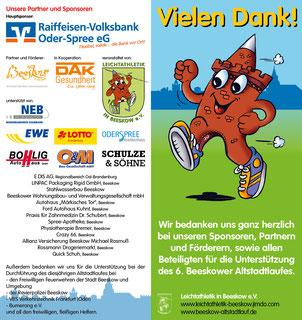 Unsere Unterstützer des 6. Beeskower Altstadtlaufes.