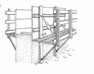 Modell eines Stampfflecht - Wandgerüstes