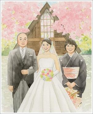 桜を背景に結婚式のサンクスボード