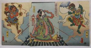 豊国,浮世絵,風神,雷神