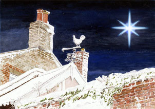 Woodbridge - Theatre Street - Chimneys and Weathervane in Snow with Christmas Star