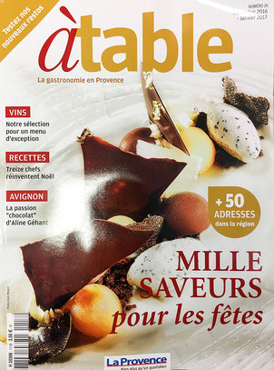 "Article dans le magazine ""A TABLE"" SAVIM MARSEILLE 2016"