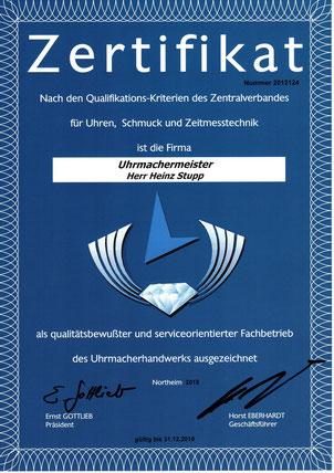Zertifizierung des Zentralverbandes für Uhren, Schmuck und Zeitmesstechnik