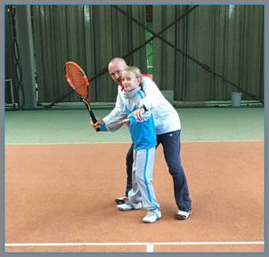 Oliver Rauch mit seiner Tochter Anna, die seit 2014 im Kader des Oberbayrischen Tennisverbandes spielt