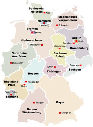 Deutschland mit seinen 16 Bundesländern und Landeshaupstädten