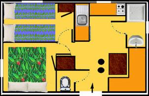 plan mobile home CATALANE 21m2