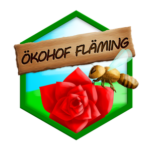 Der Ökohof Fläming hat ein neues Logo. Es zeichnet sich durch Wabenform, Rose, Honigbiene und den Fläming aus. Die ökologische Imkerei bildet das Zentrum des Ökohofs