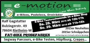 Dreiräder testen beim Frühlingsfest vom Dreirad-Zentrum Tuttlingen