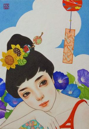 『声』 日本画 P3  ご予約済