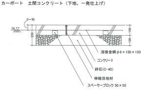 こちらが弊社の使用しているコンクリート土間の仕様。土工事は200mmで済む。