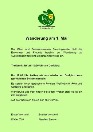 Herzliche Einladung zur Maiwanderung rund um Breuningsweiler mit anschließendem gemütlichen Beisammensein am Dorfplatz.1. Mai 2015.