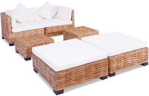 rattan +naturale +midollino +divano