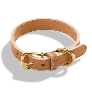 Beiges Hundehalsband aus Leder mit goldener Schließe aus Messing